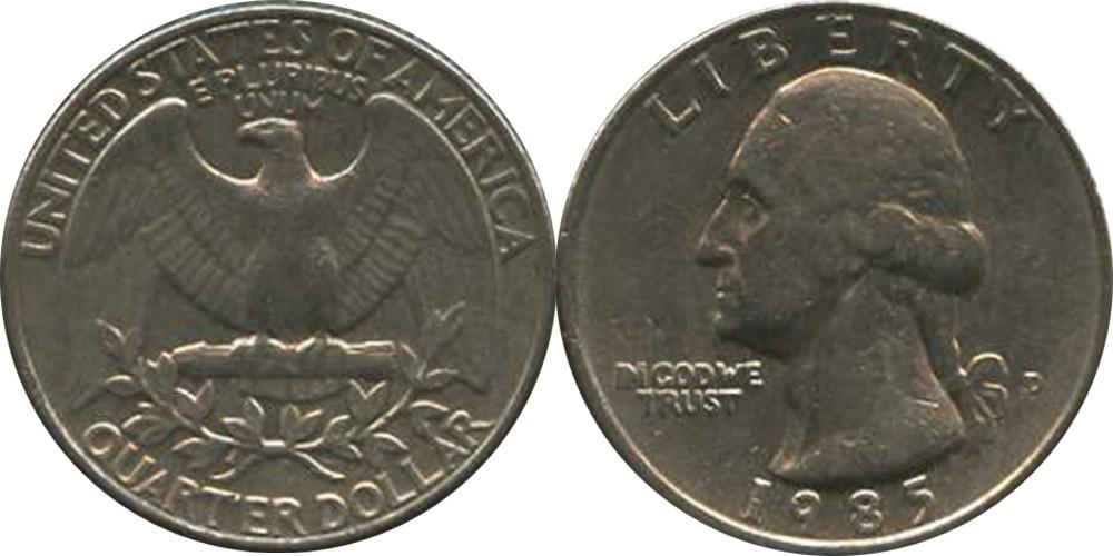 25 центов 1985 D США