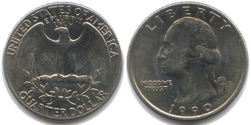 25 центов 1990 D США
