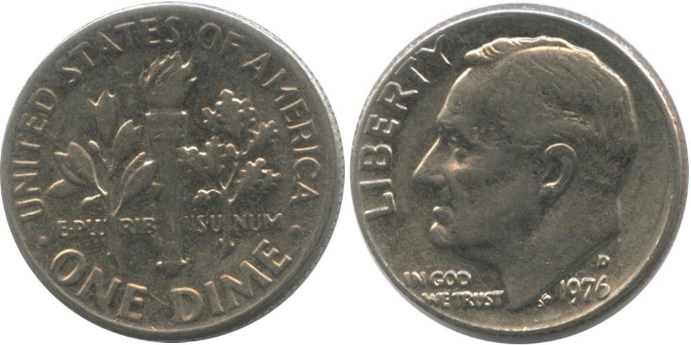10 центов 1976 D США