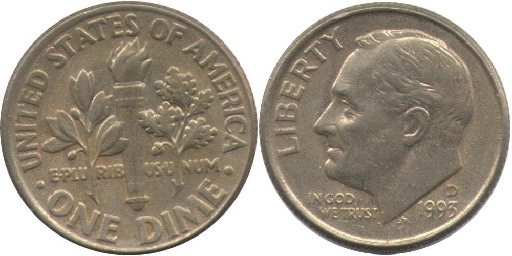 10 центов 1993 D США