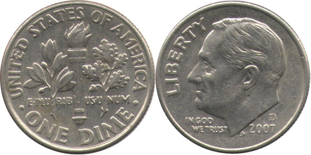 10 центов 2007 D США