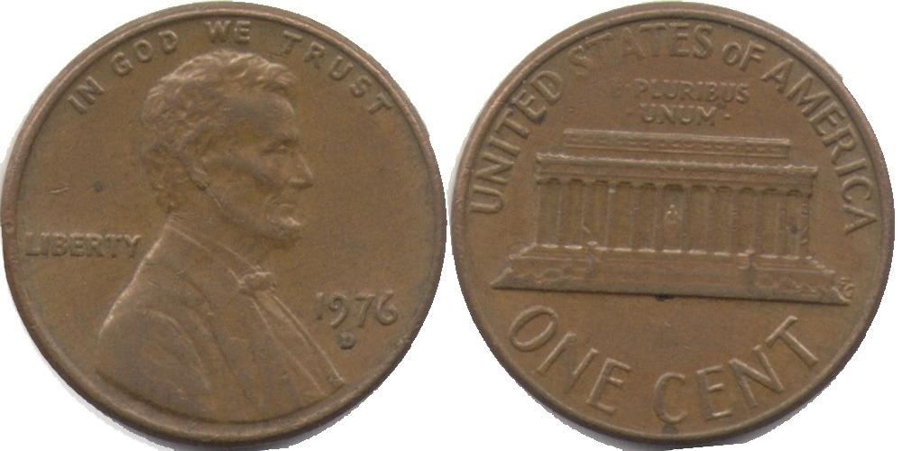 1 цент 1976 D США