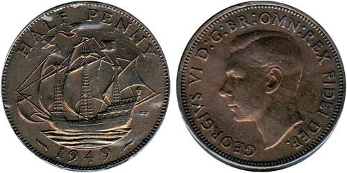 1/2 пенни 1949 Великобритания