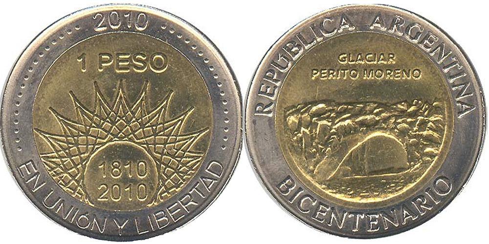 1 песо 2010 Аргентина — 200 лет Аргентине — ледник Перито-Морено