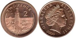 2 пенса 2000 Гибралтар UNC