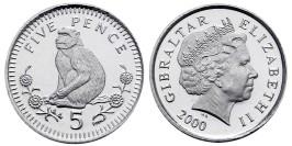 5 пенсов 2000 Гибралтар UNC