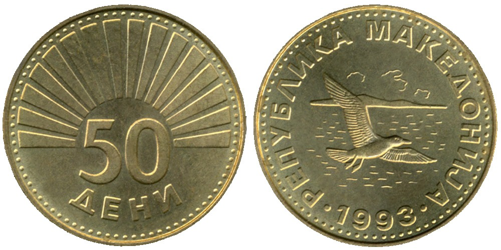 50 дени 1993 Македония — Озёрная чайка (лат. Larus ridibundus)