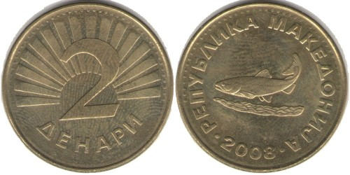 2 денара 2008 Македония — Охридская форель (лат. Salmo letnica)