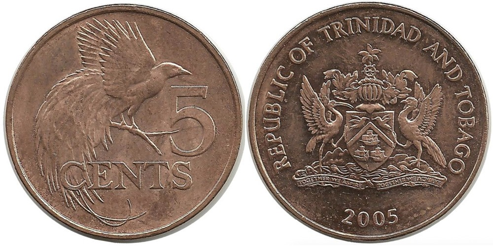 5 центов 2005 Тринидад и Тобаго — Райская птица UNC
