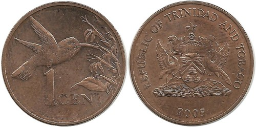 1 цент 2005 Тринидад и Тобаго — Колибри