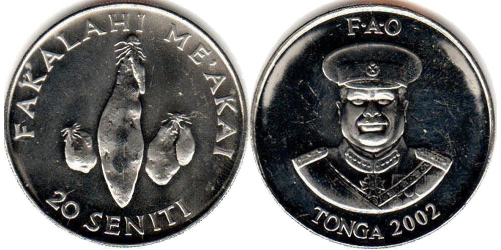 20 сенити 2002 Тонга — Три клубня батата ФАО F.A.O.