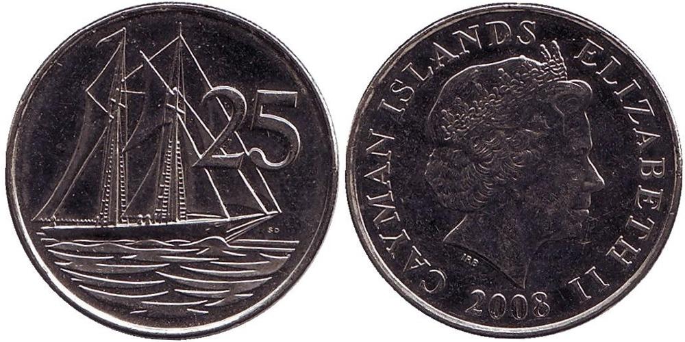 25 центов 2008 Каймановы острова UNC