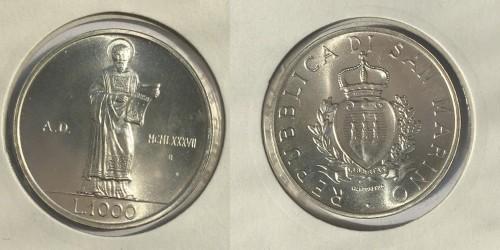 1000 лир 1987 Сан-Марино — 15 лет возобновлению чеканке монет — серебро