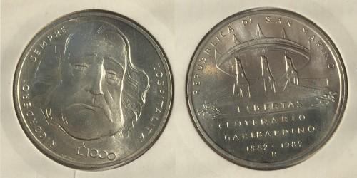 1000 лир 1982 Сан-Марино — 100 лет со дня смерти Джузеппе Гарибальди — серебро