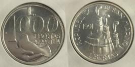 1000 лир 1991 Сан-Марино — Голубь на руке — серебро