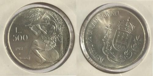 500 лир 1981 Сан-Марино — 2000 лет со дня смерти Вергилия, Буколики, игра на флейте — серебро