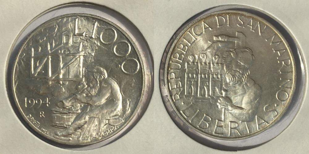 1000 лир 1994 Сан-Марино — Основание первой церкви в Сан-Марино — серебро