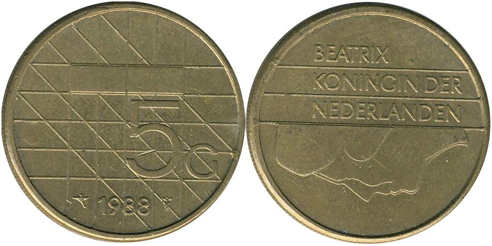 5 гульденов 1988 Нидерланды