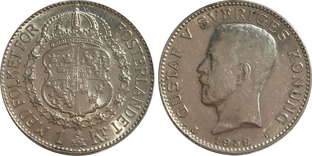1 крона 1939 Швеция  — серебро