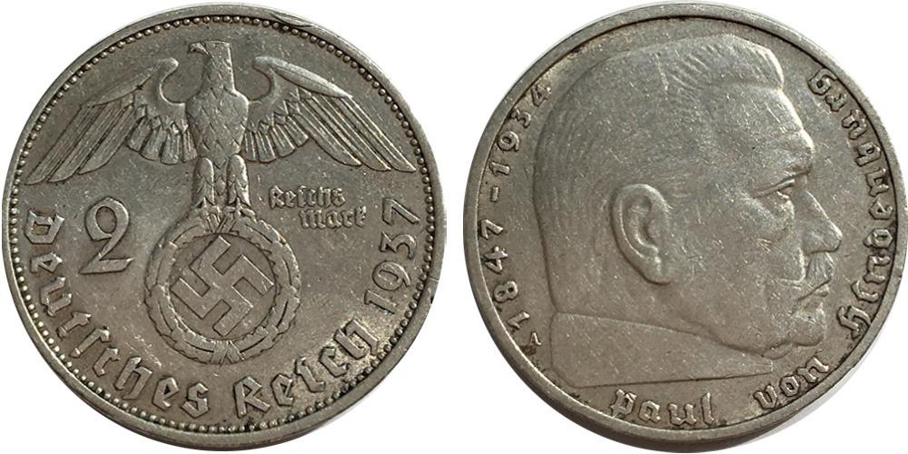 2 рейхсмарки 1937 «А» Германия — серебро №2