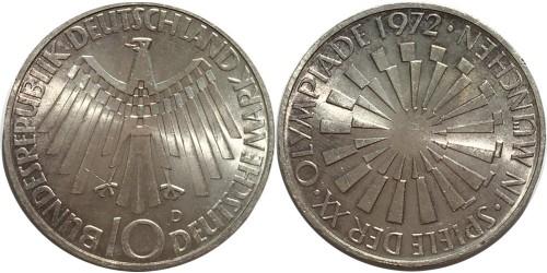 10 марок 1972 «D» Германия (ФРГ)
