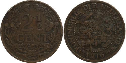 2 ½ цента 1916 Нидерланды