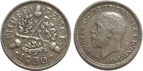 3 пенса 1936 Великобритания — серебро
