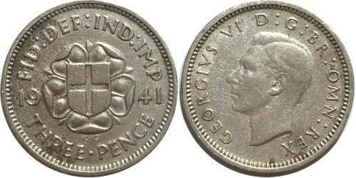 3 пенса 1941 Великобритания — серебро