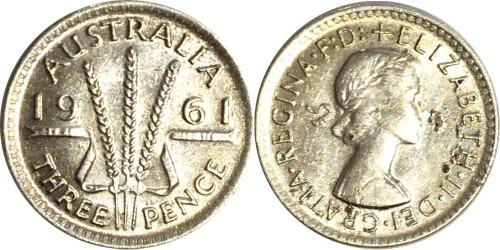 3 пенса 1961 Австралия — серебро