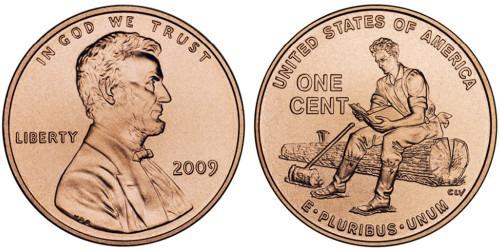 1 цент 2009 США — 200 лет со дня рождения Авраама Линкольна — Юность в Индиане