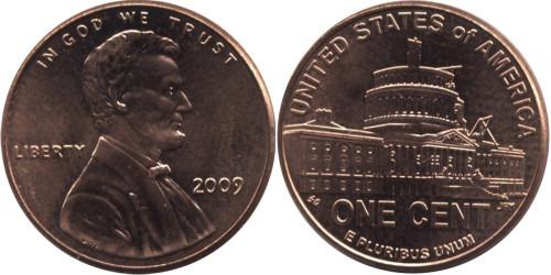 1 цент 2009 США — 200 лет со дня рождения Авраама Линкольна — Президентство в Вашингтоне