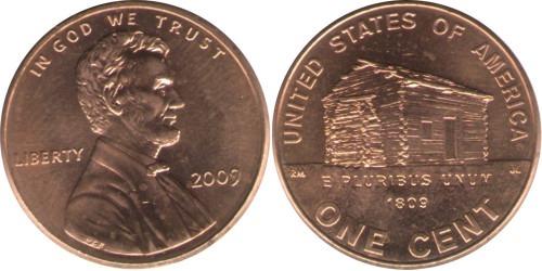 1 цент 2009 США — 200 лет со дня рождения Авраама Линкольна — Детство в Кентукки