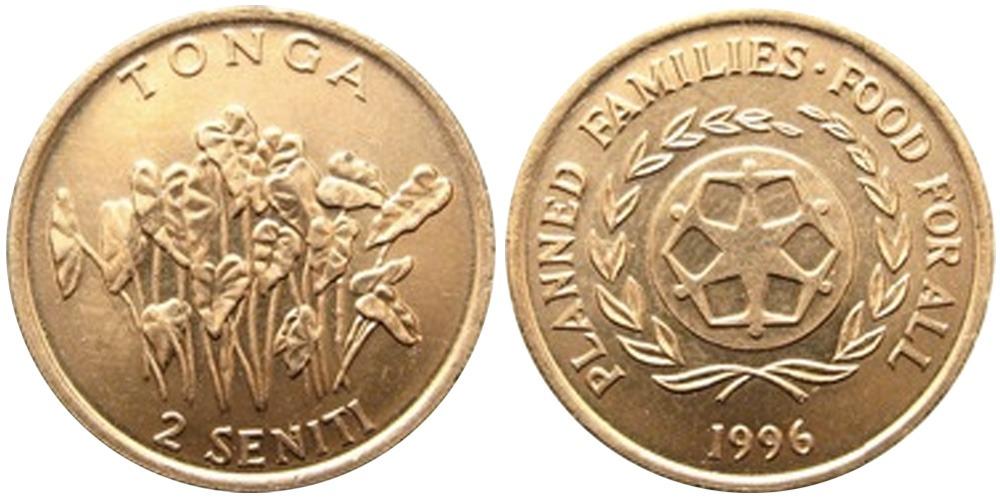 2 сенити 1996 Тонга — Таро (колоказия) ФАО F.A.O.