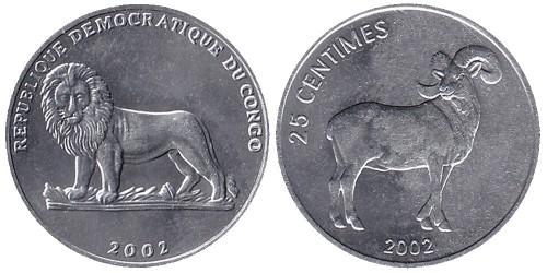 25 сантимов 2002 Конго — Баран