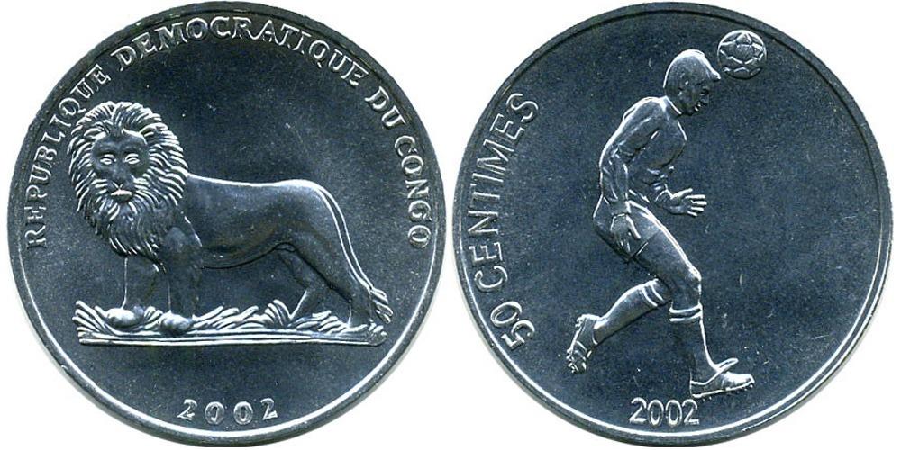 50 сантимов 2002 Конго — Футболист