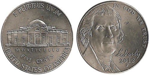 5 центов 2012 P США — Jefferson Nickel