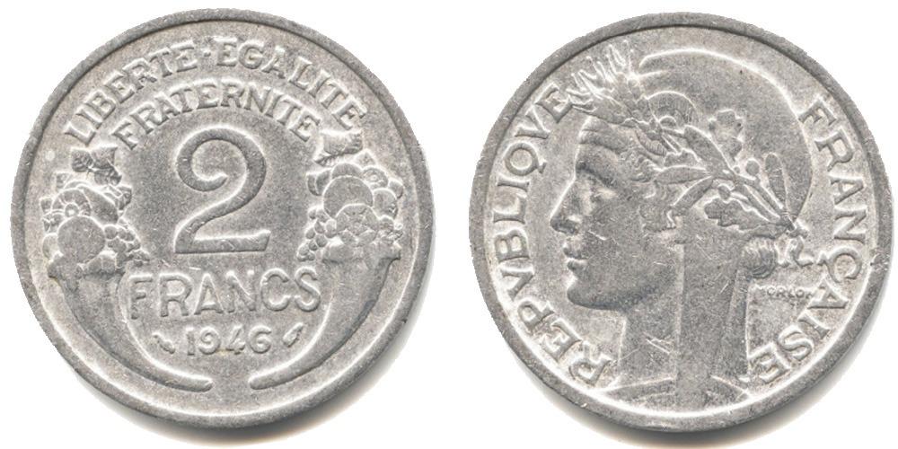 2 франка 1946 Франция