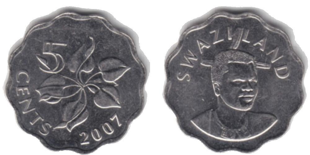 5 центов 2007 Свазиленд UNC