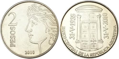 2 песо 2010 Аргентина — 75 лет Центральному банку Аргентины — Ребристый гурт