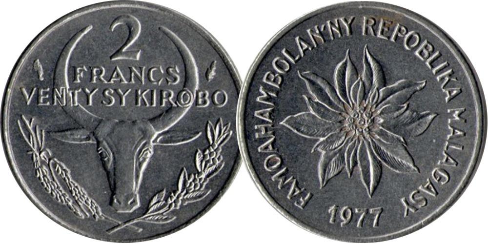 2 франка 1977 Мадагаскар — Пуансеттия прекраснейшая или молочай прекраснейший