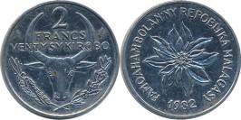 2 франка 1987 Мадагаскар — Пуансеттия прекраснейшая или молочай прекраснейший
