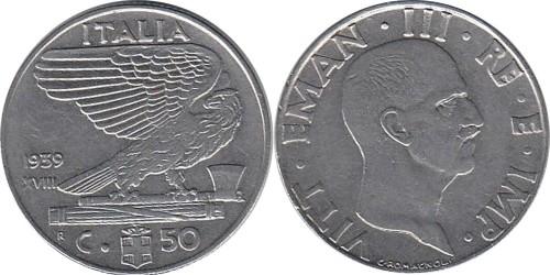 50 чентезимо 1939 Италия — магнитная — XVIII
