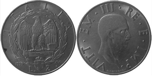 2 лиры 1939 Италия — немагнитная — XVIII