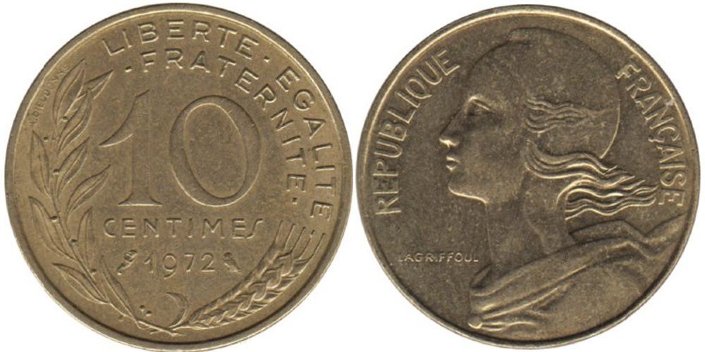 10 сантимов 1972 Франция