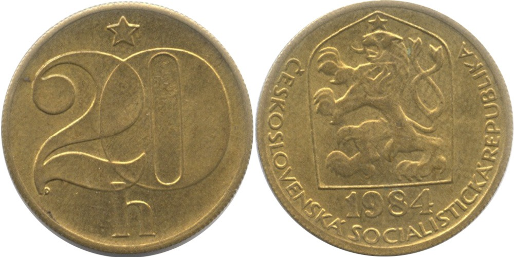 20 геллеров 1984 Чехословакии