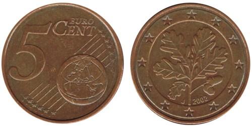 5 евроцентов 2002 «J» Германия
