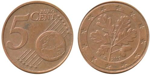 5 евроцентов 2002 «G» Германия