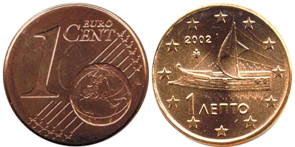 1 евроцент 2002 Греция UNC