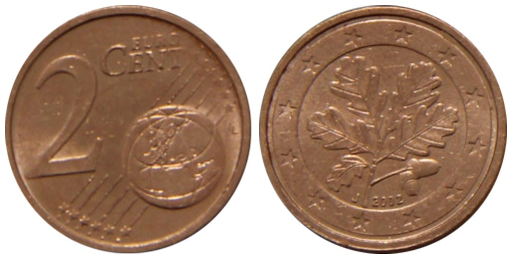 2 евроцента 2002 «J» Германия