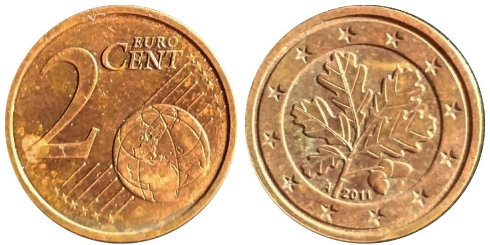 2 евроцента 2011 «А» Германия